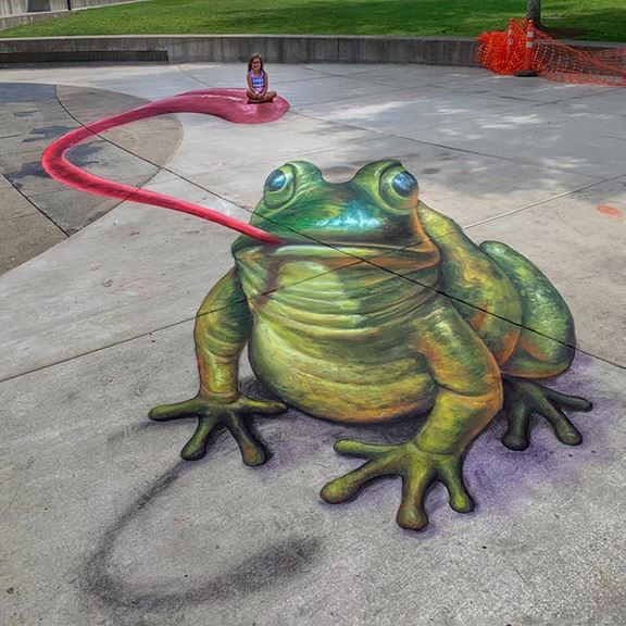3-D Chalk art of frog